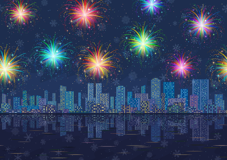 starry night: Horizontal Seamless Landscape, Holiday Urban Background, Night City with Skyscrapers, Fireworks and Snowflakes in Starry Sky, Reflecting in Blue Sea. Eps10, Contains Transparencies. Vector Illustration
