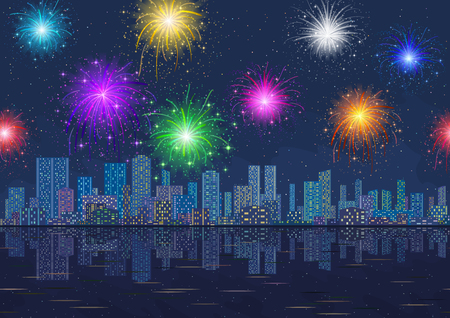 Horizontal Seamless Landscape, Holiday Urban Background, Night City with Skyscrapers and Fireworks in Starry Sky, Reflecting in Blue Sea. Eps10, Contains Transparencies. Vector Illustration