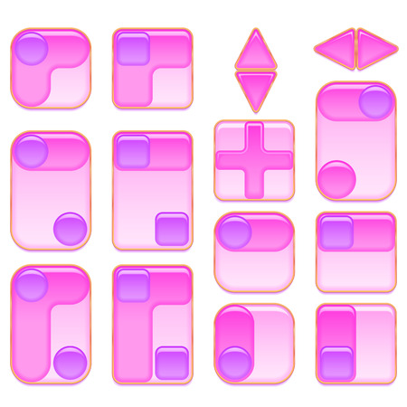 clicked: Set of Glass Pink and Lilac Buttons, Computer Icons of Different Forms for Web Design, Isolated on White Background. Vector Eps10, Contains Transparencies