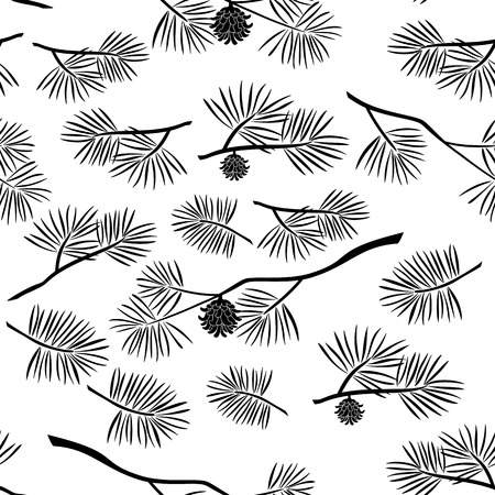 Seamless Pattern, Black Silhouette Pine Branches with Cones and Needles on White Background. Vector Illustration
