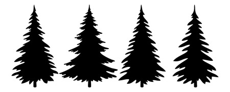 firs: Christmas Trees Set, Black Pictogram Isolated on White Background, Winter Holiday Symbols. Vector