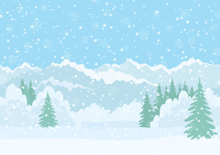 Seamless Horizontal Background, Christmas Holiday Landscape with Snowy Sky, Fir Trees, Snowdrifts and Far Mountains in the Distance. Eps10, Contains Transparencies. Vector