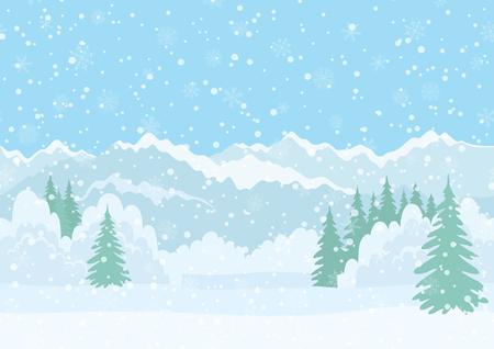 resfriado: Incons�til Fondo Horizontal, Navidad Paisaje de vacaciones con cielo Nevado, Abetos, Ventisqueros y monta�as a lo lejos. Eps10, contiene las transparencias. Vector