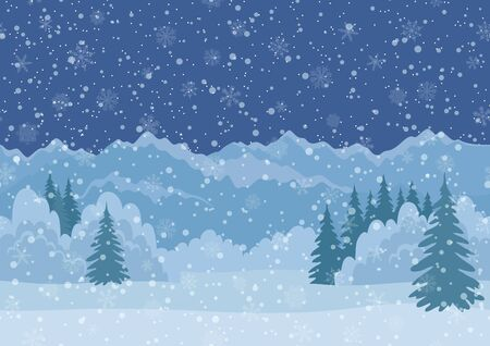 winter night: Seamless Horizontal Background, Christmas Holiday Landscape with Night Snowy Sky, Fir Trees, Snowdrifts and Far Mountains in the Distance. Eps10, Contains Transparencies. Vector