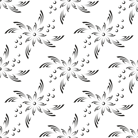 symbolical: Abstract Seamless Background with Black Silhouette Flowers on White, Symbolical Pattern. Vector