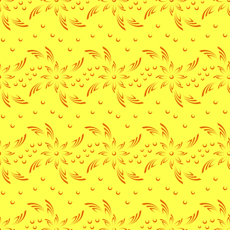 abloom: Abstract Seamless Background with Orange Silhouette Flowers on Yellow, Symbolical Pattern. Vector