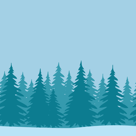 pine trees: Christmas Horizontal Seamless Background, Landscape with Fir Trees, Winter Holiday Illustration. Vector