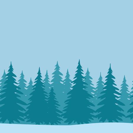 Kerstmis Horizontaal Naadloze Achtergrond, Landschap met dennen, de winter vakantie Illustratie. Vector