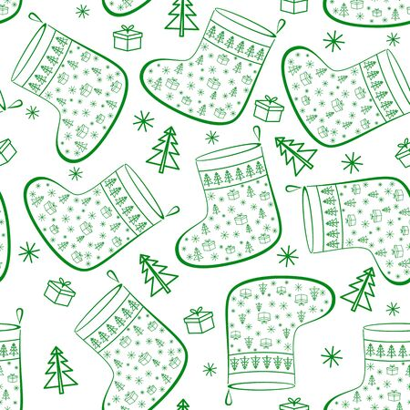 Christmas Stockings For Gifts Decorated, Seamless Background, Symbol Pictograms. Vector