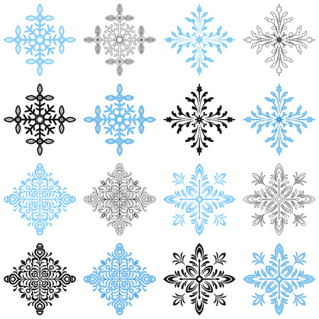 christmastide: Set of Ornate Snowflakes, Christmas Elements in Various Versions, with Strokes, without Strokes, Contours and Black Silhouettes Isolated on White Background. Vector