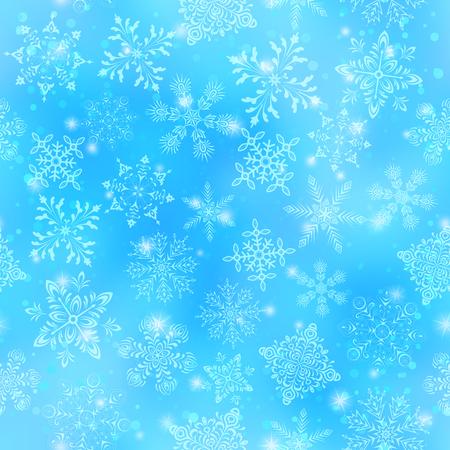 copo de nieve: Fondo inconsútil de la Navidad con los copos de nieve blancos y las estrellas en el cielo azul. Eps10, contiene las transparencias. Vector