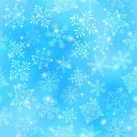 Christmas Seamless Background with White Snowflakes and Stars on Blue Sky. Eps10, Contains Transparencies. Vector