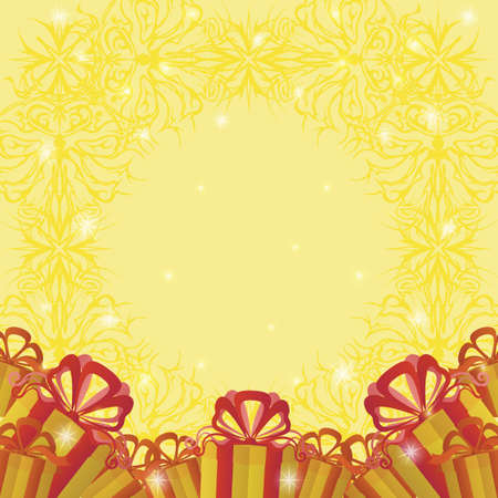 christmastide: Holiday Background with Gift Color Boxes, Symbolical Yellow Pattern and Sparks. Eps10, Contains Transparencies. Vector