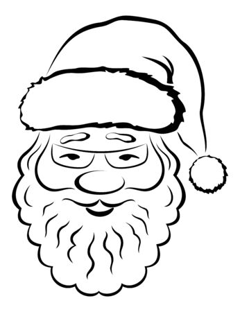 picto: Christmas Symbol, Smiling Santa Claus Face, Black Pictogram on White Background. Vector