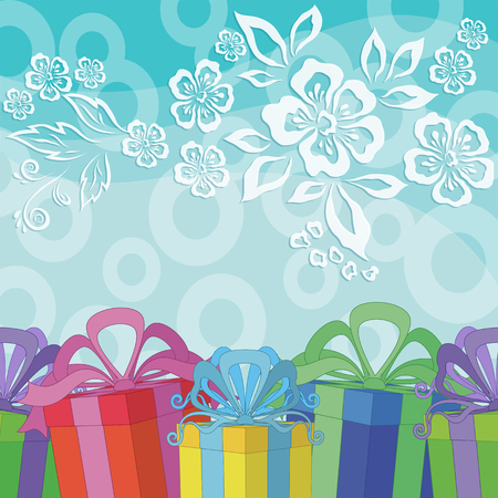 christmastide: Holiday Background with Gift Color Boxes on Blue with Pattern Flowers and Rings. Eps10, Contains Transparencies. Vector Illustration