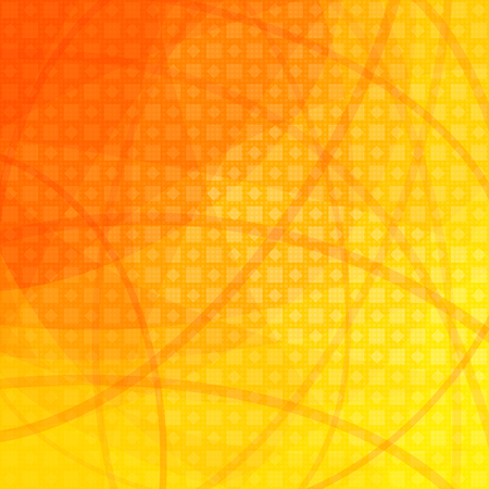 symbolical: Abstract Yellow and Orange Background with Symbolical Colorful Lines and Figures. Eps10, Contains Transparencies. Vector Illustration