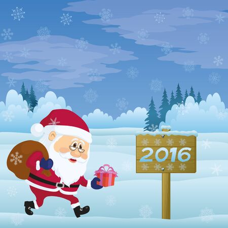 christmastide: Santa Claus with a Bag of Gifts Walking in Winter Forest Near the Wooden Sign with Inscription 2016, Christmas Cartoon Illustration. Vector Illustration