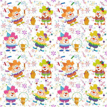 somersault: Seamless Background with Cheerful Circus Clowns, Juggling Balls and Candies and Training Dogs. Holiday Illustration with Funny Cartoon Characters on White, Colorful Stars and Streamers. Vector Illustration