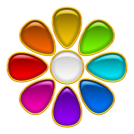 colorful flowers: Colorful Glossy Button in Shape of Flower with Multicolored Petals and Golden Frames, Computer Icon for Web Design, Contains Transparencies. Vector