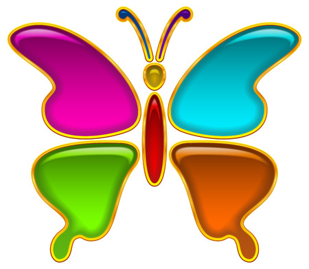 purple butterfly: Colorful Glossy Button in Shape of Butterfly with Multicolored Details and Golden Frames, Computer Icon for Web Design, Contains Transparencies. Vector Illustration