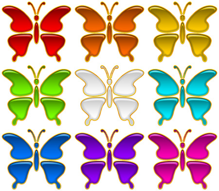 monarch butterfly: Set of Colorful Glossy Buttons in Shape of Multicolored Butterflies with Golden Frames, Computer Icons for Web Design. Eps10, Contains Transparencies. Vector Illustration