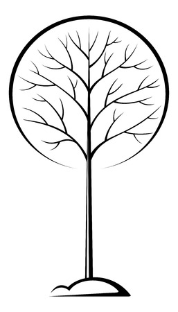 symbolical: Tree with Round Crown on the Hill, Symbolical Black Pictogram on White Background. Vector Illustration