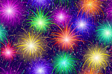 transparencies: Firework Background Seamless of Various Colors. Pattern for Holiday Design. Contains Transparencies. Vector