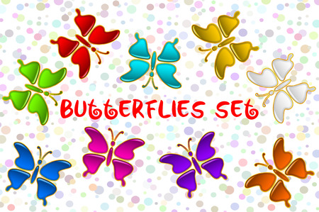 feeler: Set of Colorful Glossy Butterflies with Golden Frames, Computer Icons for Web Design. Eps10, Contains Transparencies. Vector