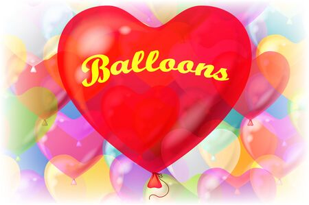 red balloons: Holiday Valentine Background with Big Red Heart Shaped Balloon and Bright Colorful Balloons Behind. Eps10, Contains Transparencies. Vector