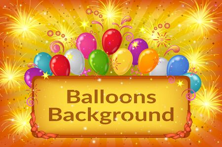 transparencies: Holiday Background with Plate, Sparks, Patterns, Fireworks and Colorful Balloons on Yellow. Eps10, Contains Transparencies. Vector Illustration