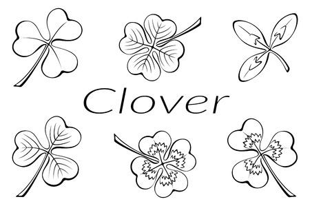 faboideae: Set of Plant Pictograms, Clover Leaves, Black on White. Vector Illustration