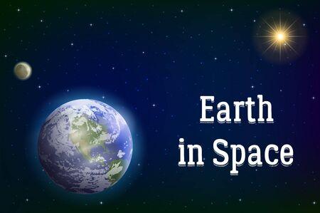 madre tierra: El espacio de fondo con realista del planeta Madre Tierra, la Luna, el Sol y estrellas. Los elementos de esta imagen proporcionada por la NASA, www.visibleearth.nasa.gov. Eps10, contiene las transparencias. Vector Vectores
