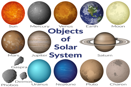 nasa: Space Set Planets Solar System, Sun, Earth, Moon, Venus, Mercury, Mars, Pluto, Charon, Phobos, Deimos, Gaspra, Neptune, Jupiter, Saturn and Uranus. Elements Furnished by NASA, http:solarsystem.nasa.gov. Vector