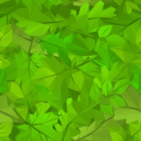Abstract Floral Background, Green Leaves Low Poly Design. Vector Illustration