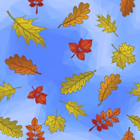 leaved: Autumn Nature Background with Leaves of Plants over the Blue Sky, Polygonal Low Poly Design. Vector