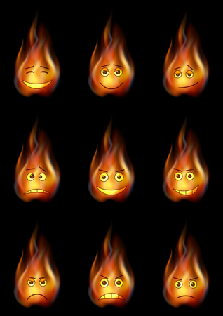 choleric: Set of Smileys, Stylized Flames, Symbolizing Various Human Emotions. Eps10, Contains Transparencies. Vector Illustration