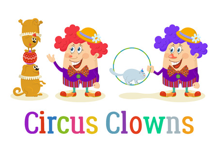trained: Set of Cheerful Kind Circus Clowns in Colorful Clothes with Trained Animals Illustration