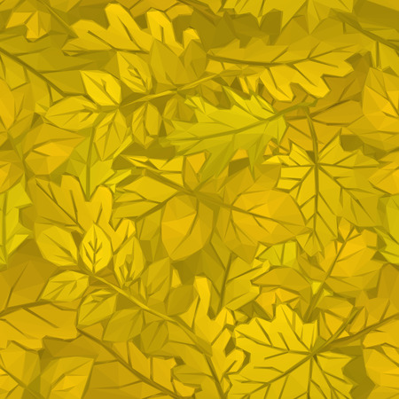 Autumn Nature Background with Leaves of Plants, Polygonal Low Poly Design.