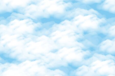Cloud scape Seamless Background, White Clouds on Blue Sky.