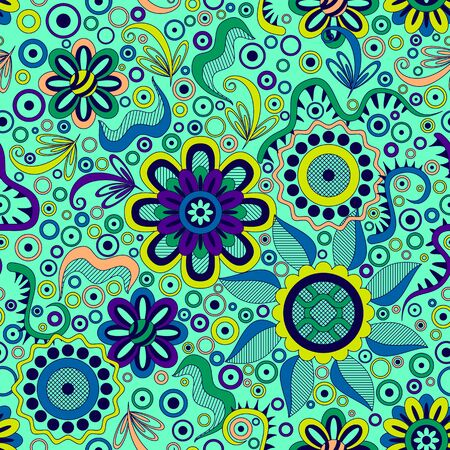 symbolical: Abstract Seamless Background with Symbolical Colorful Patterns and Floral Ornaments. Illustration