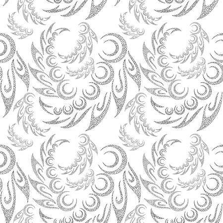 symbolical: Abstract Seamless Background with Symbolical Contour Patterns and Floral Ornaments.