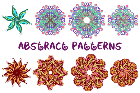 symbolical: Set of Abstract Symbolical Floral Patterns, Colorful Design Elements Isolated on White Background.