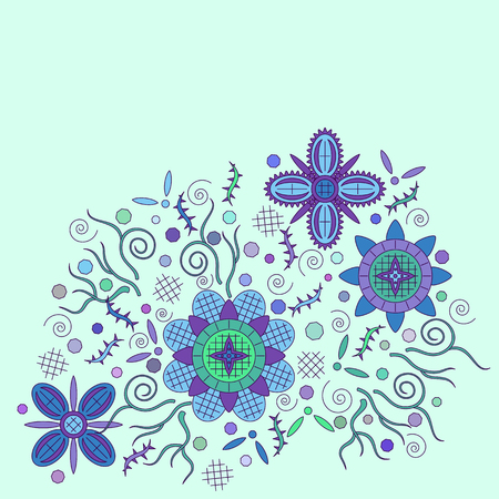 symbolical: Abstract Background with Symbolical Floral Patterns, Colorful Ornament.
