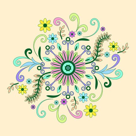 abloom: Abstract Background with Symbolical Floral Patterns, Colorful Ornament.