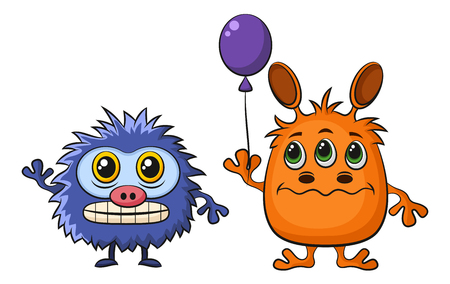 ugly gesture ugly gesture: Set of Cute Different Cartoon Monsters, Colorful Characters with Toy Balloon, Elements for your Design, Prints and Banners, Isolated on White Background. Vector Illustration