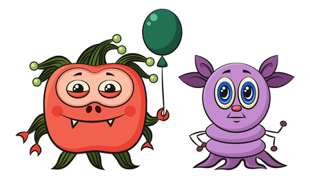 Set of Cute Different Cartoon Monsters, Colorful Characters with Toy Balloon, Elements for your Design, Prints and Banners, Isolated on White Background. Vector Illustration