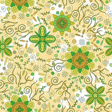 abloom: Abstract Seamless Background with Symbolical Colorful Patterns and Floral Ornaments. Vector