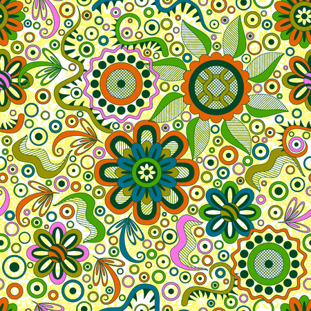 symbolical: Abstract Seamless Background with Symbolical Colorful Patterns and Floral Ornaments. Vector