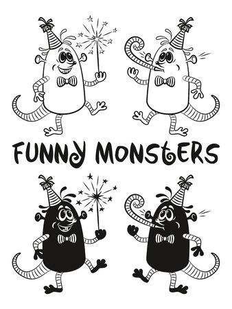 fife: Set of Cute Cartoon Monsters, Black Contour and Silhouette Characters with Sparkler and Festive Fife, Elements for your Party Holiday Design, Prints and Banners, Isolated on White Background. Vector Illustration