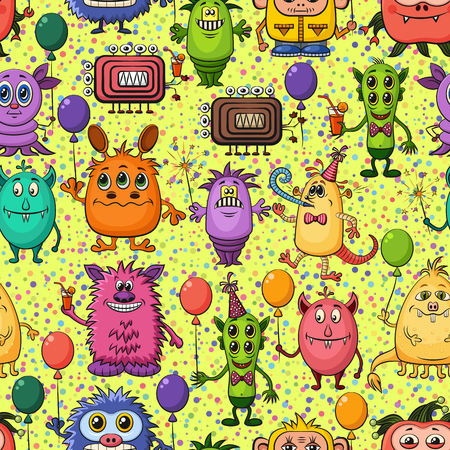 feasting: Seamless Background for Your Holiday Party Design with Different Cartoon Monsters, Colorful Tile Pattern with Cute Funny Characters, Feasting with Balloons, Sparklers and Cocktails. Vector